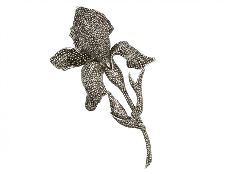 Large Mid-Century Silver & Marcasite Orchid Brooch