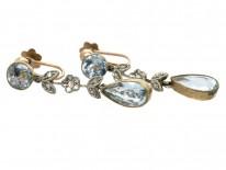 Edwardian Aquamarine & Rose Diamond Drop Earrings
