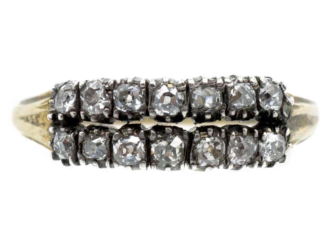Georgian 15ct Gold, Two Row Diamond Ring