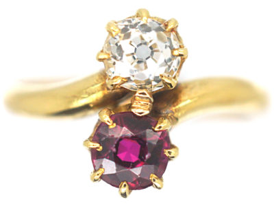 Edwardian 18ct Gold, Diamond ​& Ruby Crossover Ring