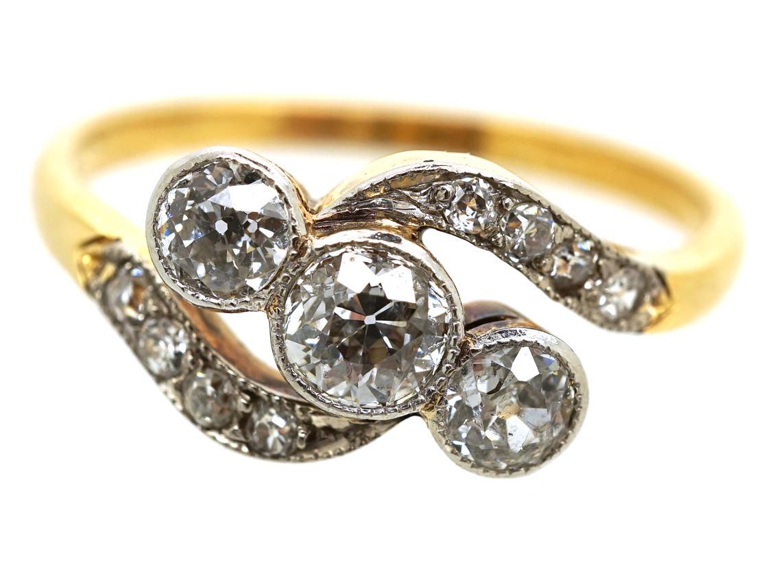 Edwardian 18ct Gold & Platinum, Three Stone Diamond Crossover Ring