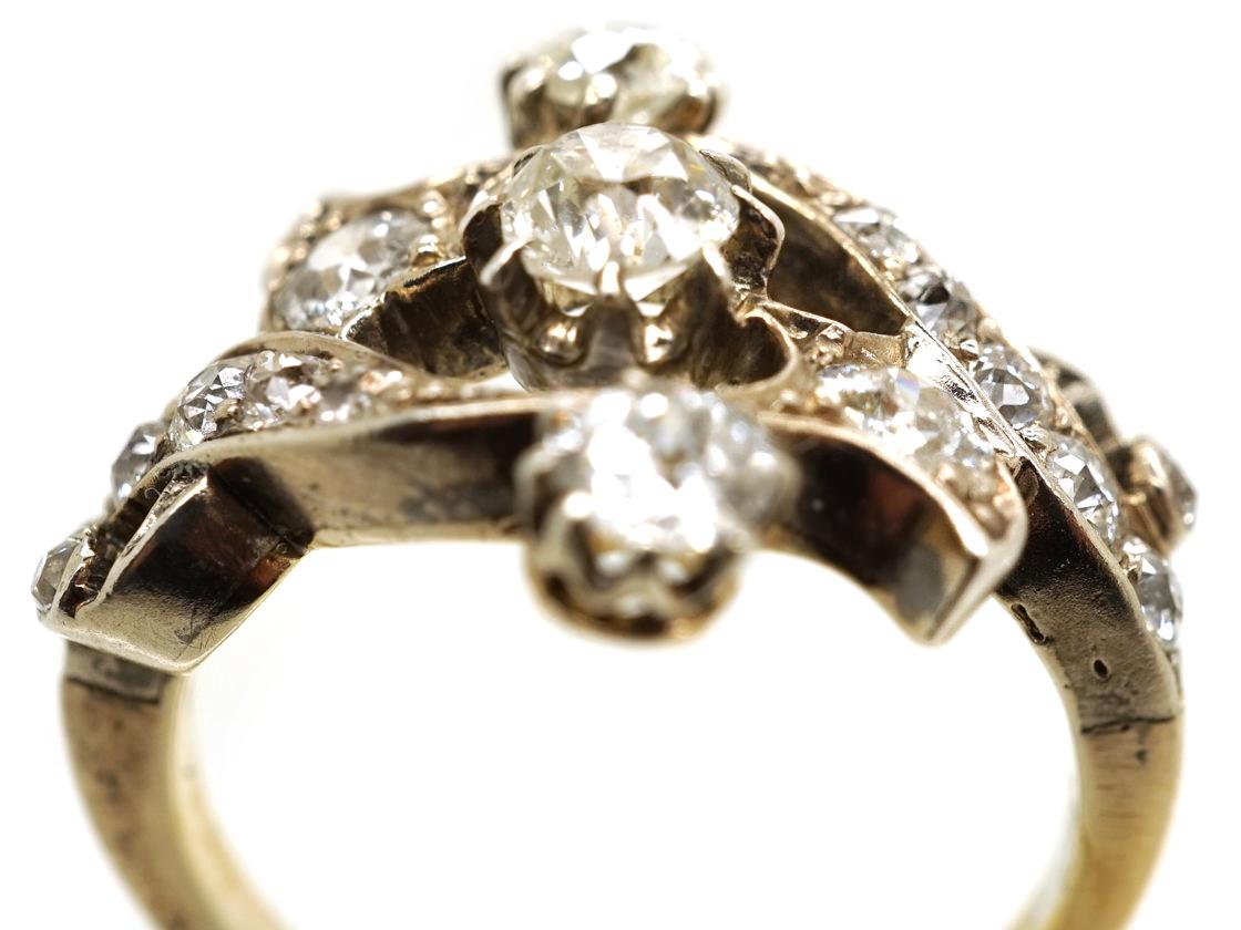 Victorian 18ct Gold, Silver, & Diamond Foliate Design Ring
