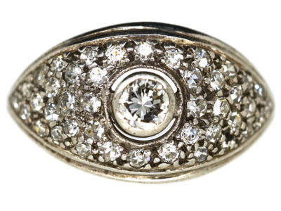 Art Deco 18ct White Gold Bombe Cluster Ring