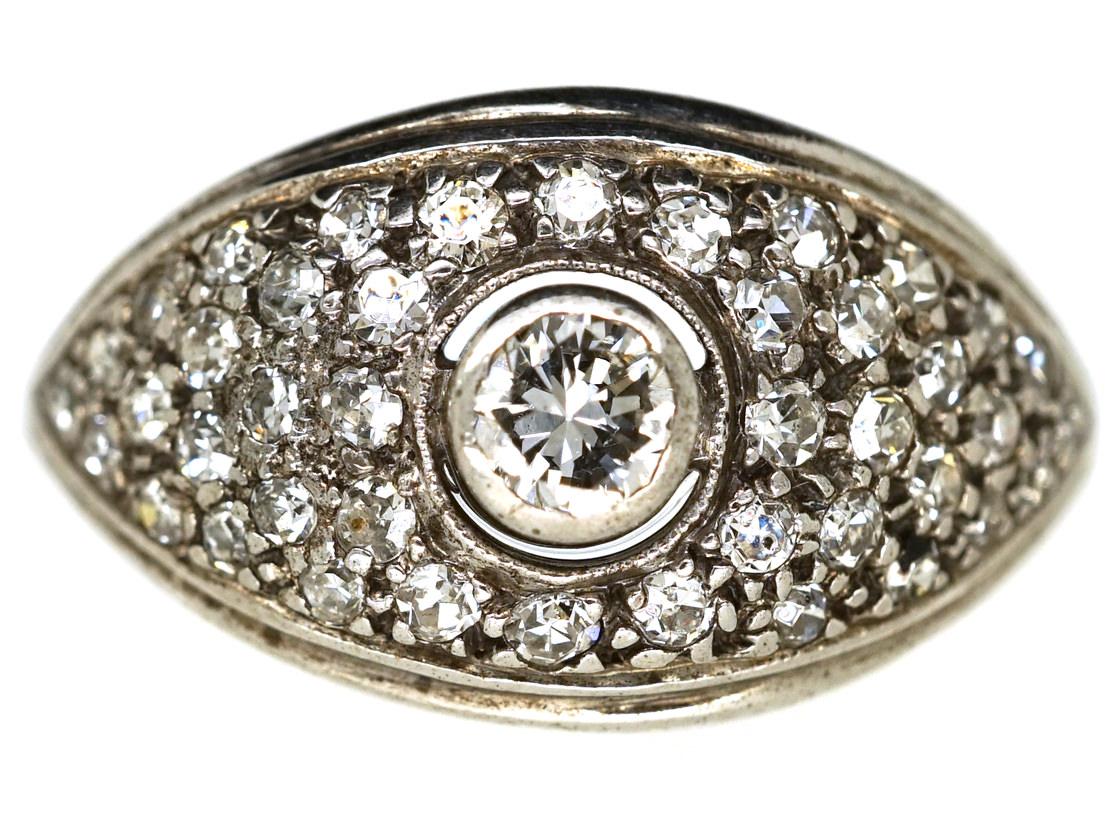 Art Deco 18ct White Gold Bombe Cluster Ring