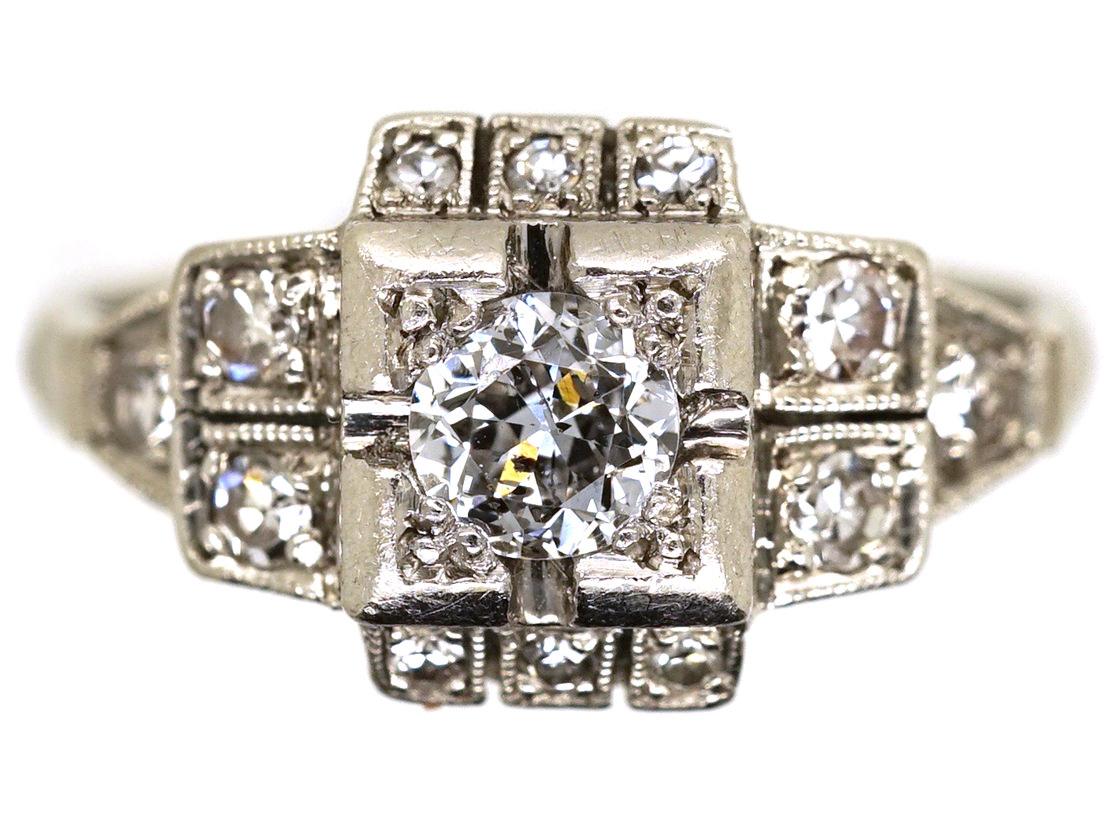 Art Deco Square Design Diamond Ring
