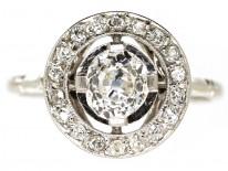 French Art Deco Platinum & Diamond Target Ring