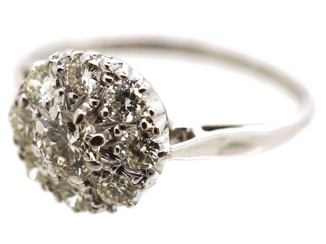18ct White Gold & Platinum, Diamond Cluster Ring