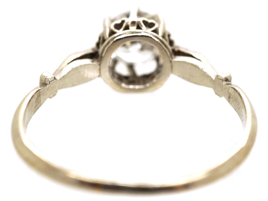 Art Deco 18ct White Gold & Diamond Solitaire Ring