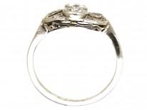 Art Deco Platinum, Two Stone Diamond Ring