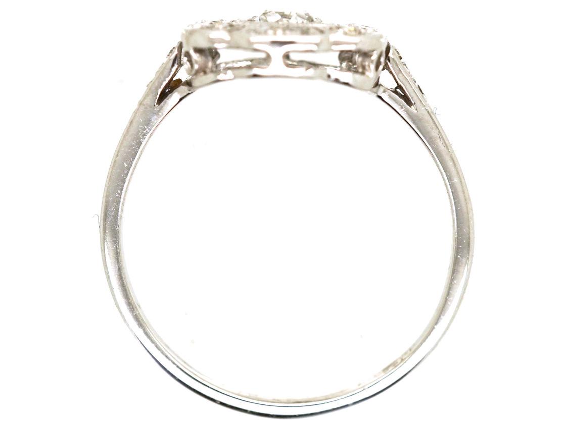 18ct White Gold Diamond Six Petal Cluster Ring