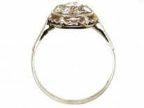 French Platinum & Diamond Cluster Ring