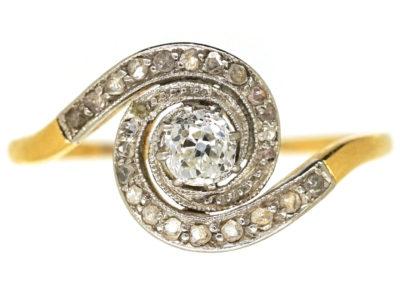 Art Nouveau 18ct Gold & Diamond Twist Ring
