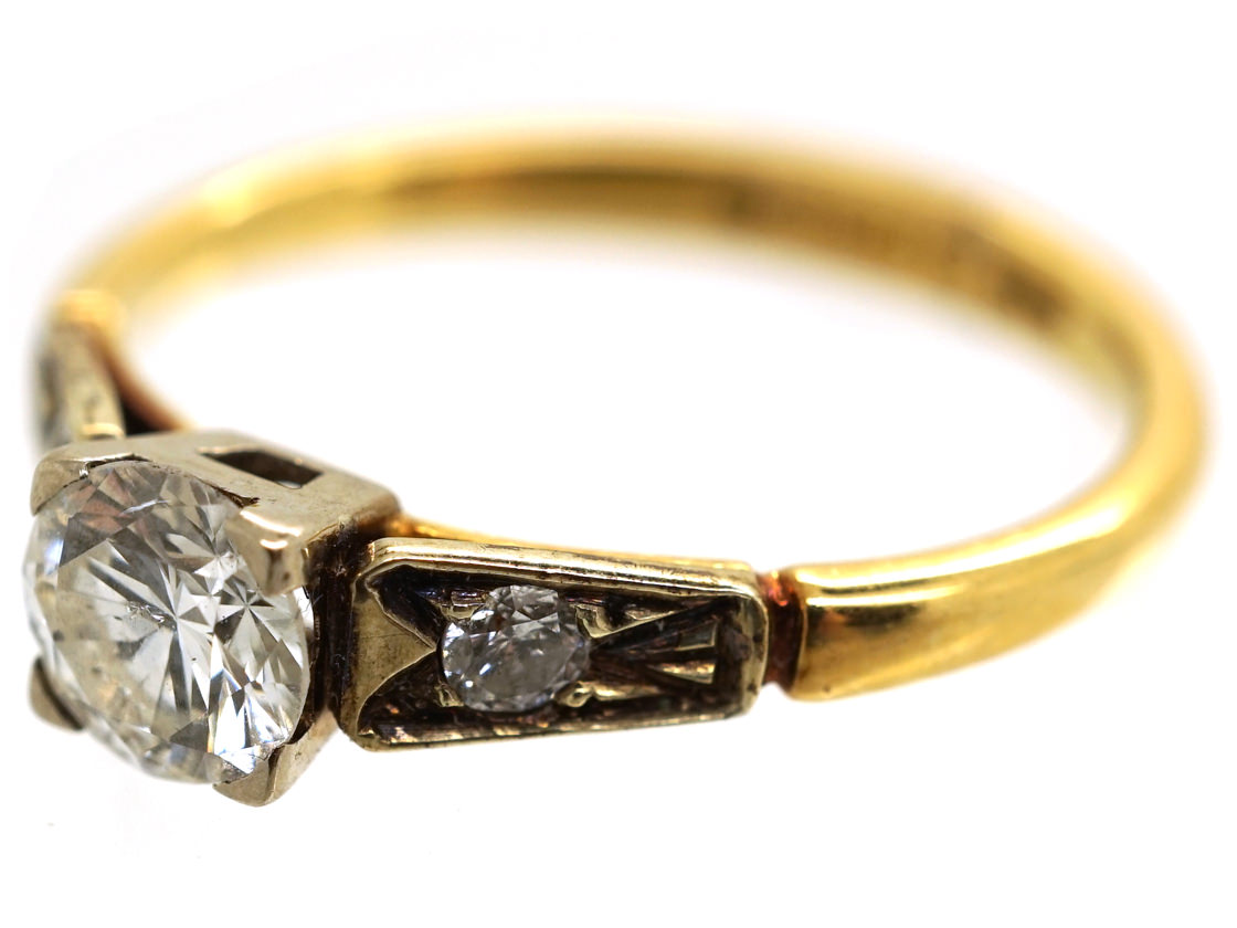 18ct Gold Diamond Solitaire Ring with Diamond Shoulders