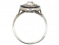 Art Deco Sapphire & Diamond Target Ring