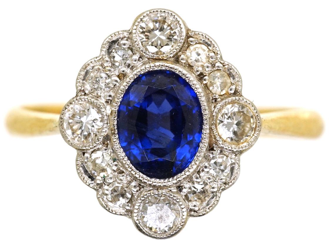 Edwardian 18ct Gold, Platinum, Sapphire & Diamond Oval Cluster Ring