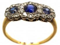 Edwardian 18ct Gold, Sapphire & Diamond Triple Cluster Ring