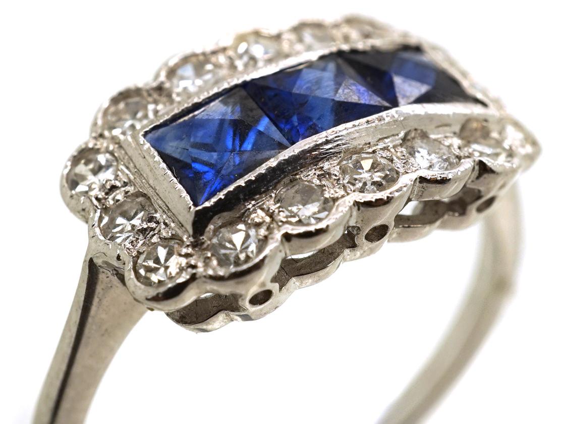 Art Deco 18ct White Gold, Sapphire & Diamond Rectangular Ring