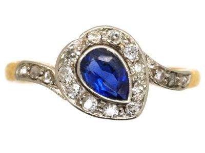 Edwardian 18ct Gold , Platinum, Sapphire & Diamond Canted Heart Ring