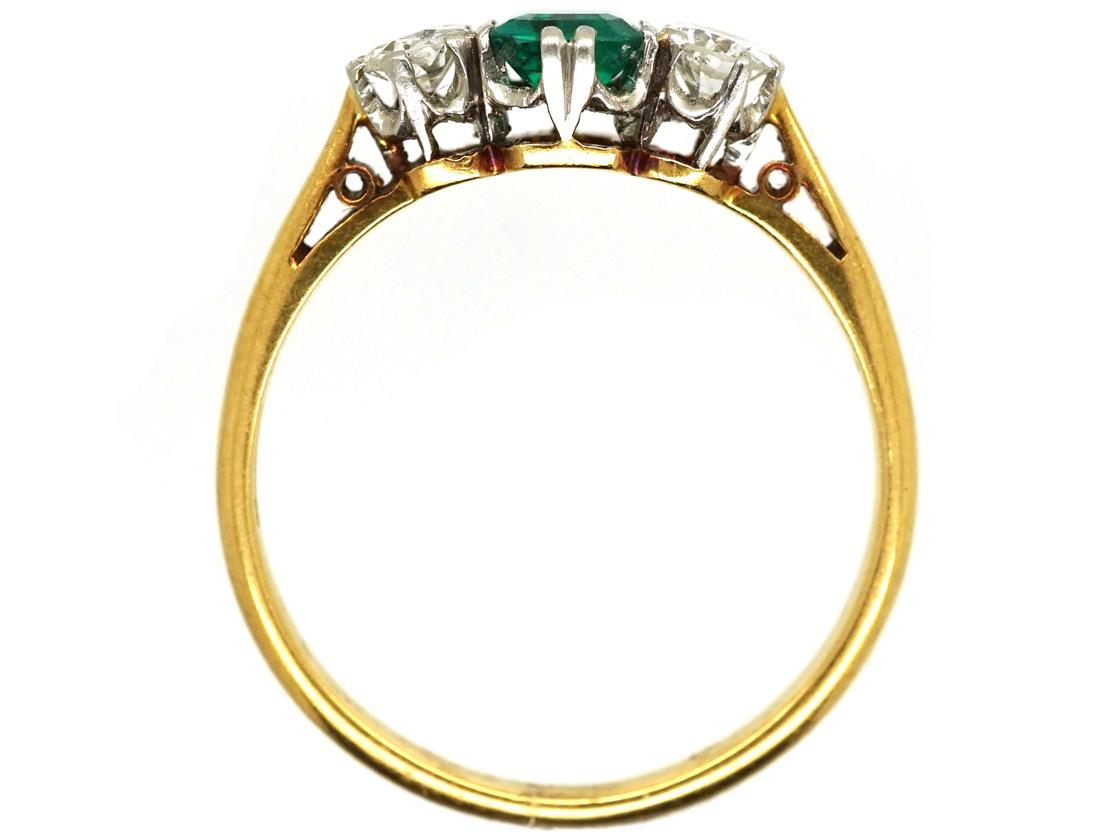 18ct Gold, Platinum, Emerald & Diamond Three Stone Ring