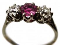 18ct White Gold Ruby & Diamond Three Stone Ring