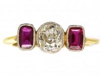 Art Deco 15ct Gold, Three Stone Ruby & Diamond Ring