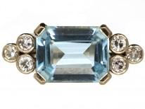 18ct White Gold Rectangular Cut Aquamarine & Diamond Ring