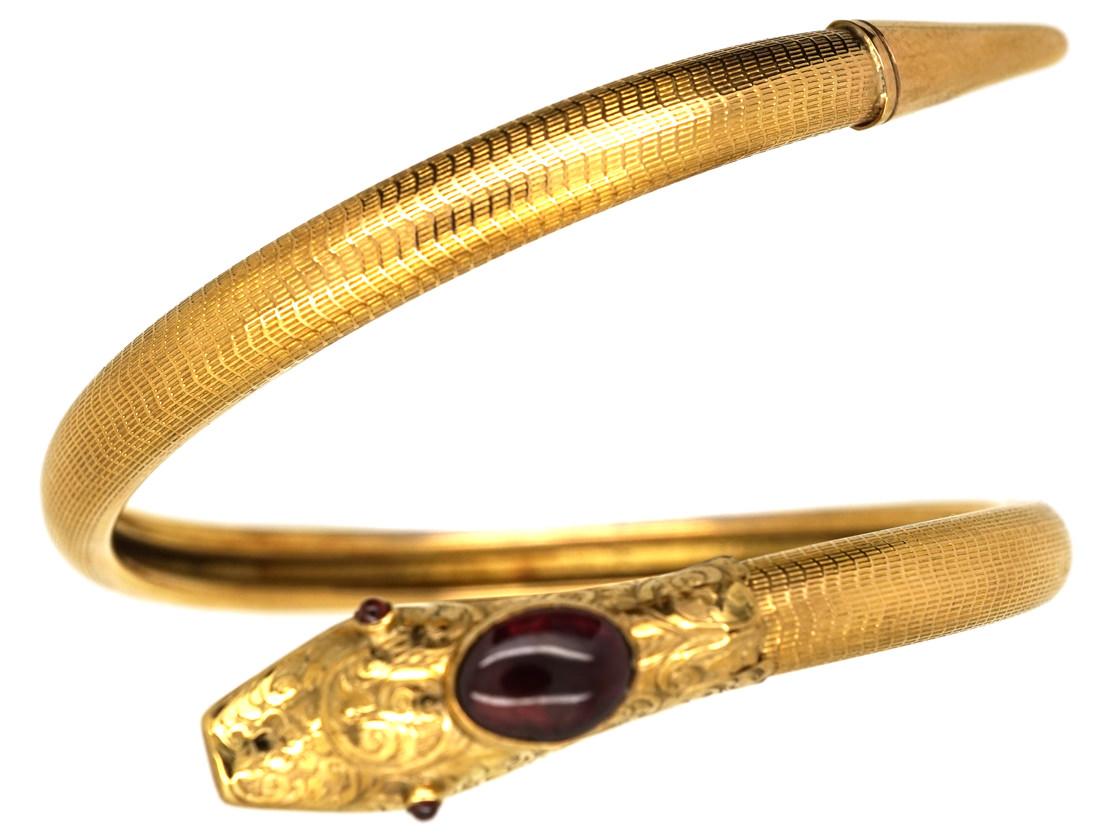 Victorian 15ct Gold Snake Bangle Set With Garnets