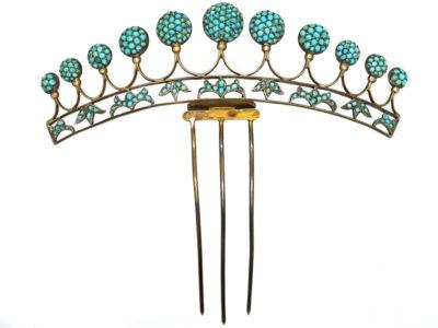 Victorian Silver Gilt & Turquoise Tiara
