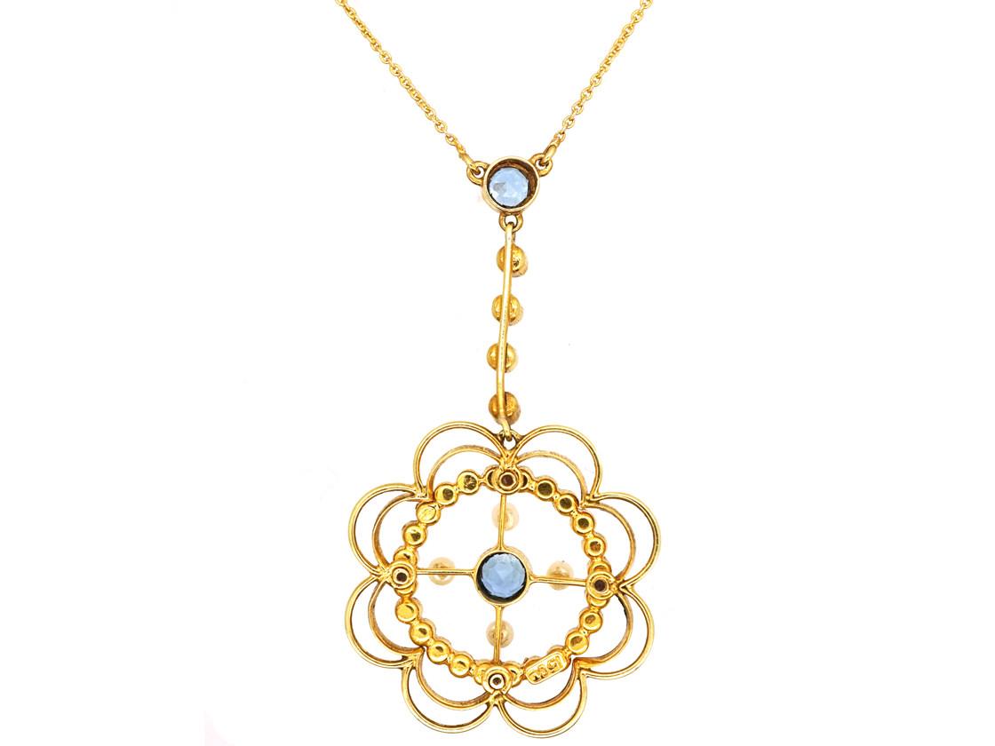 Edwardian 15ct Gold, Aquamarine & Natural Split Pearl Pendant in Original Case