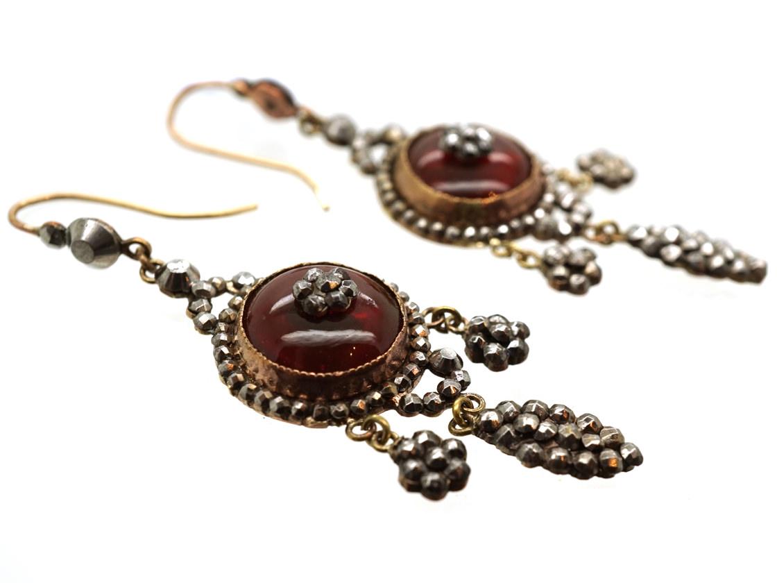 Georgian Cut Steel & Cabochon Red Glass Drop Earrings