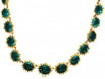 Georgian Pinchbeck & Emerald Green Paste Necklace
