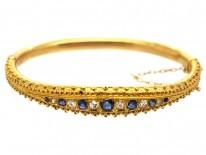 Victorian 15ct Gold, Sapphire & Diamond Bangle