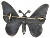 Silver & Blue & Green Enamel Butterfly Brooch