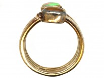 Silver Coily Two Stone Opal Ring