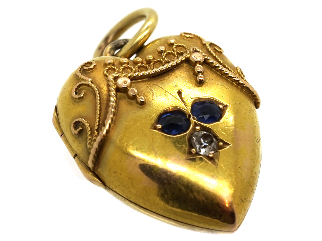 Victorian 15ct Gold Heart Shaped Locket Set With Sapphires & a Diamond