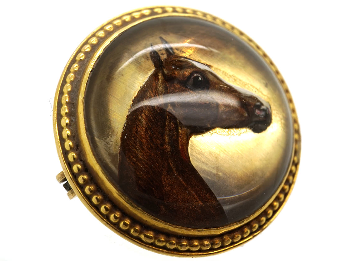 Victorian 18ct Gold & Reverse Intaglio Rock Crystal Brooch of a Horse's Head
