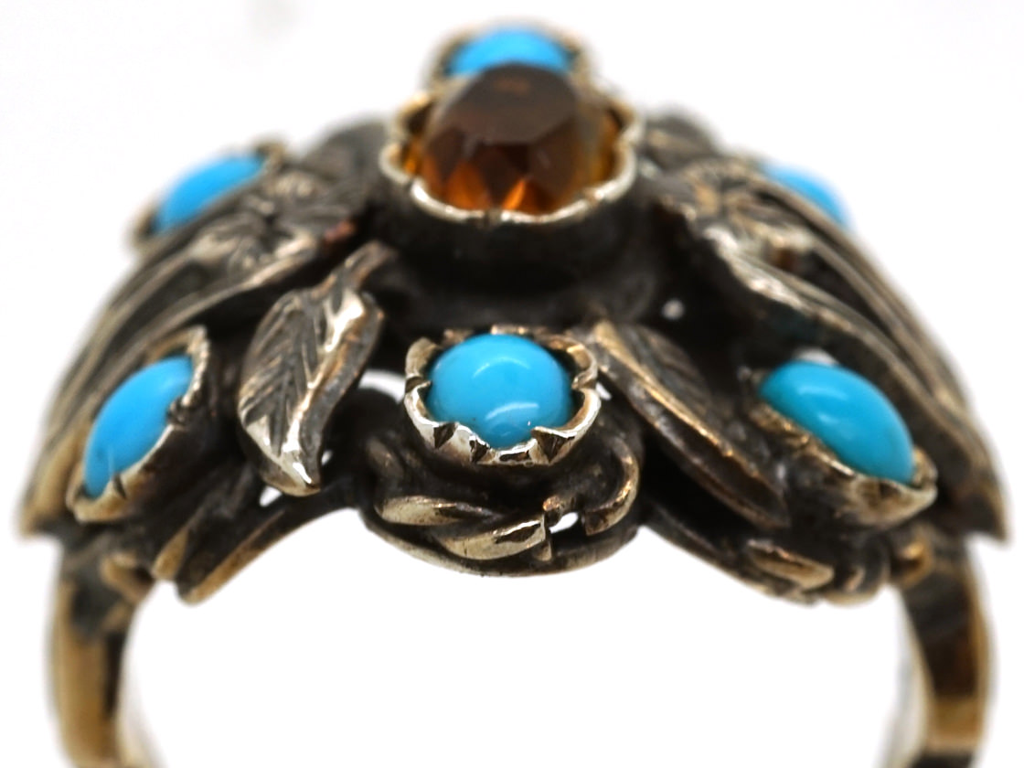 Silver Arts & Crafts Ring Set With Turquoise & a Citrine