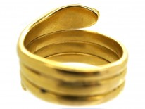 Victorian 18ct Gold Wide Snake Ring With Diamond Eyes
