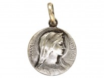 French Silver Medallion of Rosa Mystica by Dropsy