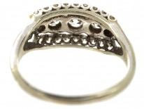 Edwardian Platinum & Diamond Three Row Ring