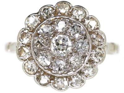Edwardian Platinum & Diamond Triple Row Cluster Ring