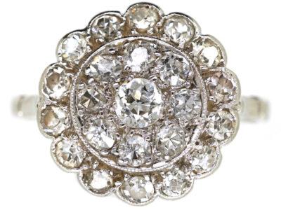 Edwardian Platinum & Diamond Triple Row Cluster Ring