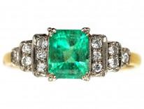 Art Deco 18ct Gold, Platinum, Emerald & Diamond Ring