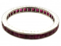 Art Deco 18ct White Gold French Cut Ruby Eternity Ring