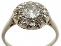 French Platinum & Diamond Bombe Cluster Ring