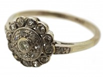 Edwardian 18ct White Gold & Platinum, Diamond Cluster Ring With Diamond Shoulders