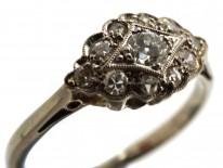 Art Deco 18ct Gold & Platinum Diamond Cluster Ring