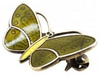 Small Green Enamel Butterfly Brooch