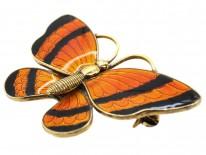 Silver Gilt Orange & Black Enamel Butterfly Brooch by Volmer Bahner