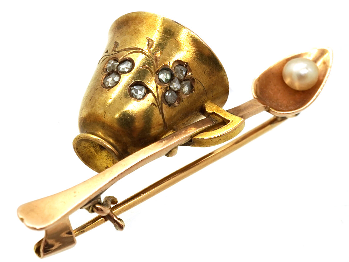 Edwardian 18ct Gold Cup & Spoon Brooch